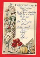 Menu Ancien -1928 - Les Légumes ;asperges, Tomates, Citrouille, Carotte, Oignon, Champignon - Menus