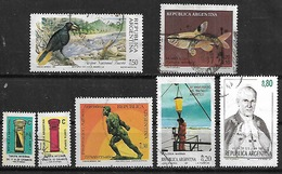 1987 Argentina Fauna Pajaro-pez-fed. Agraria-paz-trat. Antartico-buzones 7v. - Argentina