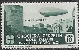 Italy Aegean Islands  1933  Sc#C22  10Lire  Zeppelin Air MLH   2016 Scott Value $95 - Aegean