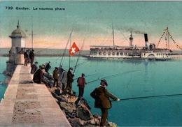 Genève Le Nouveau Phare - Bateau à Aube Montreux, Pêcheurs Sur La Jetée - Carte N° 739 Non Circulée - GE Genève