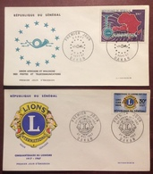 AFS38-1 Sénégal U.A.M.P.T. 100F Dakar + Cinquantenaire Lionisme Lions Club FDC Premier Jour 1967 Lot 2 Lettre - Senegal (1960-...)