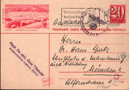 ! 1943 Ganzsache Aus Zürich, Schweiz Nach München, Autograph Arzt Professor Gian Töndury, OKW Zensur, Censure - Autógrafos