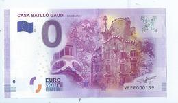 2016 BILLET TOURISTIQUE 0 Euro  Casa Batllo Gaudi  Barcelona Espagne  Port 1.50  Petit N°159 - Private Proofs / Unofficial