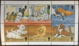 Gibraltar 1996 Animals Dogs Puppies Minisheet MNH - Perros