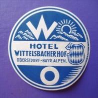 HOTEL PENSION POST BAYERN WITTELSBACHER OBERDORF GERMANY DEUTSCHLAND TAG DECAL LUGGAGE LABEL ETIQUETTE AUFKLEBER BERLIN - Hotel Labels