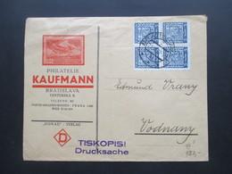 Tschechoslowakei 1937 Staatswappen Nr. 277 Als 4er Block Dekorativer Firmenumschlag Philatelie Kaufmann Bratislava - Tschechoslowakei/CSSR