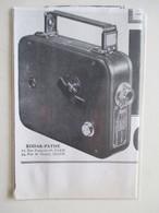 """Théme Appareil Photo & Camera -  Caméra Pour Projecteur   """"KODAK CINE HUIT """"   - Ancienne Coupure De Presse De 1936 - Filmkameras - Filmprojektoren"""