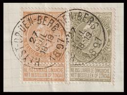 "COB N° 59+62 / Fragment - Obl. ""CONCOURS"" - HEYST-OP-DEN-BERG - 1893-1900 Thin Beard"