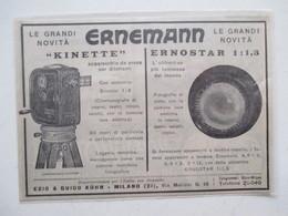 """Théme Appareil Photo & Camera -  Caméra """"Kinette"""" Pour Projecteur ERNEMANN - Ancienne Coupure De Presse De 1926 (Italie) - Projecteurs De Films"""