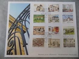 FDC Grand Format France 2013 : Patrimoines De France (série Complète 12 Timbres) - FDC