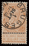 """2 COB N° 62 - Obl. """"BRUGES + BRUXELLES 7"""" - 1893-1900 Thin Beard"""