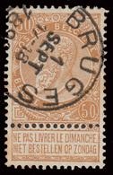 "2 COB N° 62 - Obl. ""BRUGES + BRUXELLES 7"" - 1893-1900 Fine Barbe"