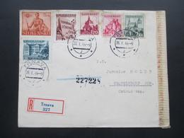 Slowakei 1944 Einschreiben Trnava Nach Nesselsdorf Im Ost Sudetenland OKW Zensur Rücks. Vignette Dr. Jozef Skultety - Cartas