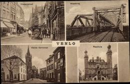 Cp Venlo Limburg Niederlande, Vleeschestraat, Maasbrug, Kleine Kerkstraat, Raadhuis - Nederland