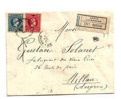 Gr-H019 / GRIECHENLAND -  Hermes, Ausgabe 1889, 20+25 L. Per Einschreiben 1890 Nach Millau/Frankreich - 1886-1901 Small Hermes Heads