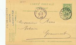 064/28 - Entier Postal Armoiries LESSINES 1908 - Cachet De Cléves , Notaire - Vers Notaire Rens à GRAMMONT - Entiers Postaux