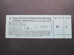 Österreich Wipa 1965 Ungebrauchte Eintrittskarte Hofburg Messepalalast / Blaue Karte! Mit Kontroll Kupon - 1945-.... 2. Republik