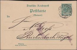 Postkarte P 32I Ziffer 5 Pf. Ohne  DV Von SOBERNHEIM 6.2.93 Nach Reichenbach/V. - Deutschland