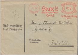 AFS Stadtverwaltung Cosel/Oberschlesien 2.8..34 Stadtsparkasse, Brief Nach Kiel - Münzen
