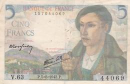 Billet France  Cinq Francs  Berger  - V 63 - P.5=8=1943 . P  Bon Etat - 1871-1952 Anciens Francs Circulés Au XXème