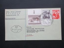 Österreich 1961 Nr. 1101 Und 1102 FDC MiF Mit Trachten Nr. 905 SST Österreichischer Rechnungshof In Die CSR Gesendet - 1945-.... 2. Republik