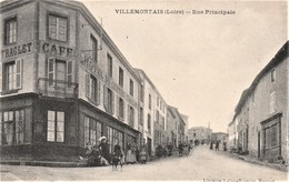 Rare Cpa Villemontais Rue Principale Belle Animation Café-hotel Traglet - Francia