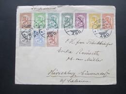 Finnland 1929 Freimarken Wappen MiF Mit 10 Marken Stempel Turku Abo Nach Hirschberg In Schlesien Gesendet - Cartas