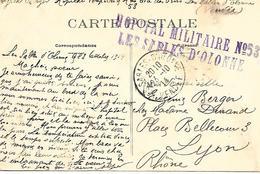 85-cachet Hôpital Militaire N°53 Aux Sables D'Olonne Sur Belle CP En 1914 - Postmark Collection (Covers)
