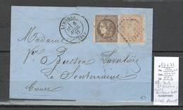 France -Lettre Affranchissement Mixte Bordeaux - Lauré - Limoges 1872- SIGNE ROUMET - Marcophilie (Lettres)