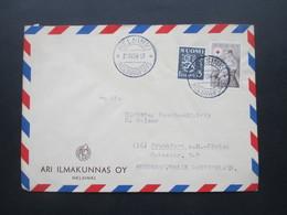 Finnland 1954 Rotes Kreuz / Red Cross Nr. 424 MiF Firmenbrief Ari Ilmakunnas OY Helsinki - Cartas
