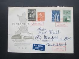 Finnland 1947 / Verwendet 1956 Umschlag Finlandia 56 Und Roter SST Ra 4 Helsinki Finlandia 56 Als Luftpost Nach Deutschl - Cartas