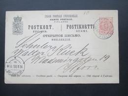 Finnland / Russland 1893 Ganzsache Stempel Kouvola Finland Und Helsingfors - Storia Postale