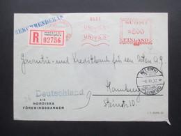Finnland 1932 Freistempel Einschreiben Helsinki Helsingfors Nach Hamburg Mit Ak Stempel Hamburg 1 Einschreibzustellung - Cartas