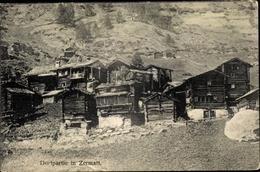 Cp Zermatt Kanton Wallis Schweiz, Dorfpartie, Holzhäuser - VS Valais