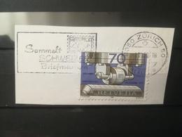 FRANCOBOLLI STAMPS SVIZZERA HELVETIA 1980 USED SU FRAMMENTO PTT SERIES OBLITERE' ZURICH ETICHETTA SUISSE FRAGMENT - Svizzera