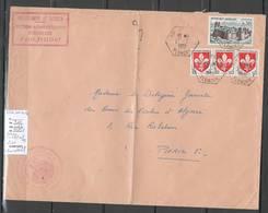 Algerie -Lettre - Cachet Hexagonal AIN TELLOUT  + Cachet Administratif SAS - Marcophilie - Briefe U. Dokumente