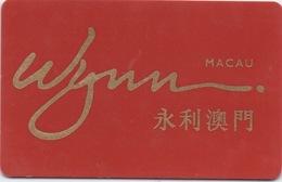 Carte De Membre Casino : Wynn Macau Macao 永利澳門 - Cartes De Casino