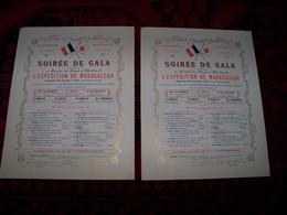 """2 Programmes Ancien """"SOIRÉE De GALA"""" ... Donnée Au Benefice Des Bléssées Et Malades De L'ESPEDITION De MADAGASCAR.. Le S - Documentos"""