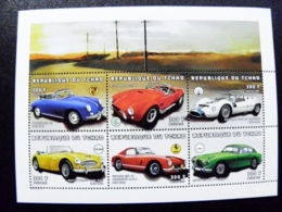 SALE! Sheetlet Tchad Chad 1997 Transport Auto Automobiles Cars Porsche Ferrari Maserati Aston Martin - Tchad (1960-...)