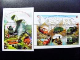 SALE! M/s + Sheetlet Tchad Chad 1997 Transport Railway Trains Locomotives Switzerland Suisse Mountains - Ciad (1960-...)