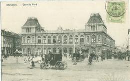 Bruxelles 1909; Gare Du Nord (Tram) - Voyagé. (éditeur?) - Schienenverkehr - Bahnhöfe