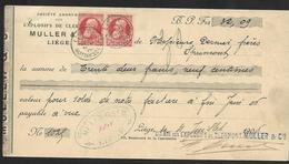 N° 74 En Paire Sur Quittance De 32,09 Frs Oblit. Liège Quittances Le 31 Juillet 06  (Lot 454) - 1905 Barba Grossa