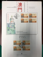 MACAU, 1993 ATM LABELS THE POST CLOSER TO YOU COMPLETE BOTTOM SET ON INFORMATION SHEET - 1999-... Chinese Admnistrative Region