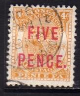 TONGA TOGA 1893 COAT OF ARMS STEMMA ARMOIRIES SURCHARGED FIVE PENCE 5p On 4p USATO USED OBLITERE' - Tonga (...-1970)