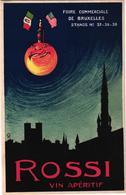 1 Postcard Rossi Vin APERITIF  Foire De Bruxelles Original 1930 Lithography - Publicité