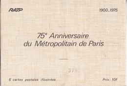PARIS 75 EME ANNIVERSAIRE DU METRO  LOT COMPLET DE 6 CPA ENTIER POSTAL VOIR VERSO TOUS LES SCANS - Metro, Stations