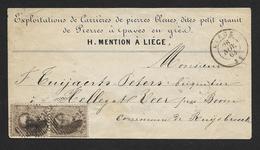 14 En Paire Verticale Sur Petite Enveloppe (carrière De Pierres Bleues) CaD Liège 26 NOV 1863 (Lot 459) - 1863-1864 Medaillen (13/16)
