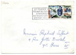 France N° 1622 Y. Et T. Côte D'Or Dijon Gare Flamme Illustrée Du 16/02/1970 Sur Lettre - Postmark Collection (Covers)