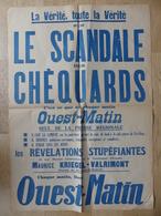 Affiche Ouest-Matin. La Vérité, Toute La Vérité Sur Le Scandale Des Chèquards. Affiche Originale Non Datée (Années 50) - Manifesti