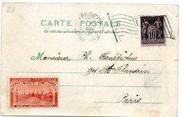 PARIS  EXPOSITION UNIVERSELLE 1900 =  FLAMME BICKERDIKE DRAPEAU + VIGNETTE - Marcophilie (Lettres)